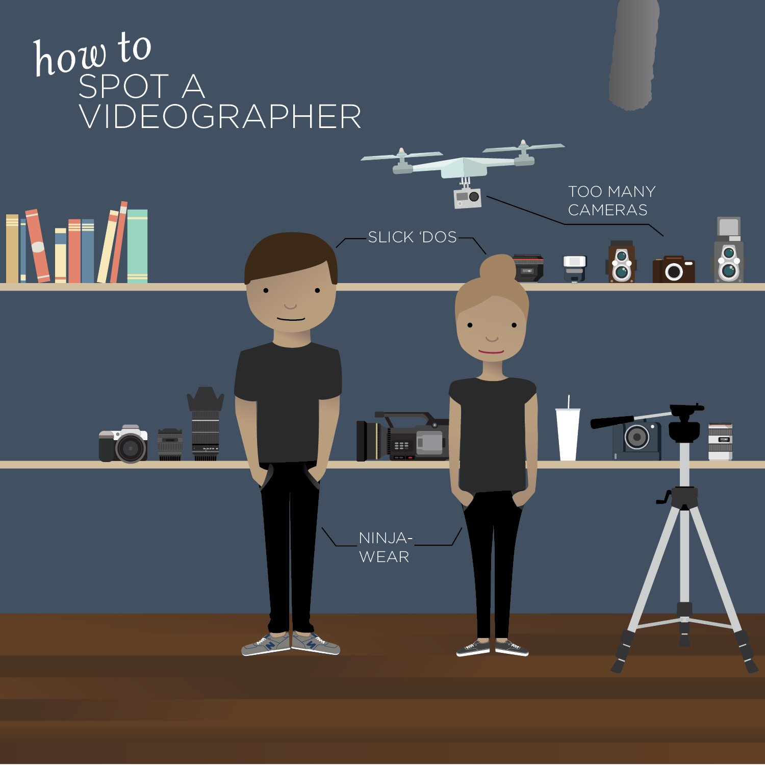 Illustration of two videographers in a studio