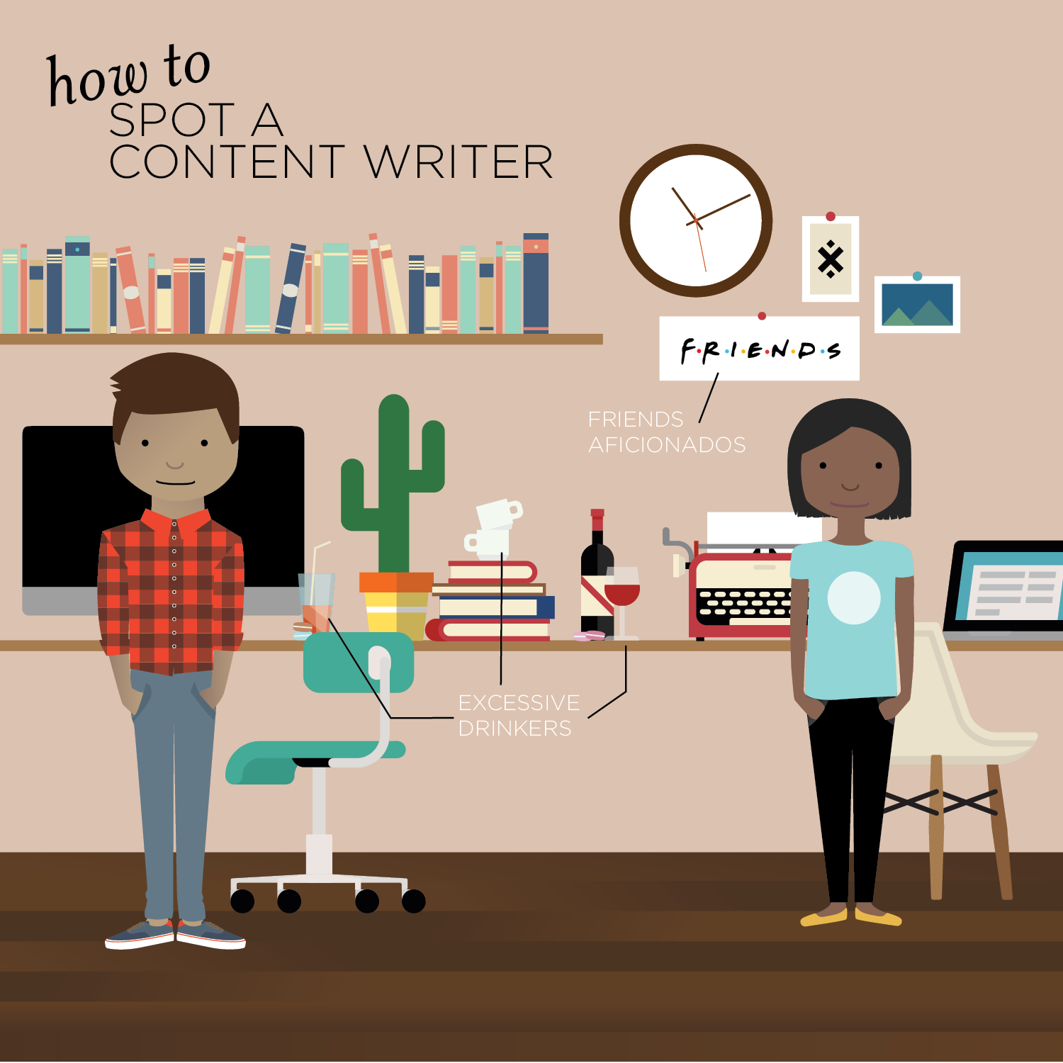 Illustration of two content writers