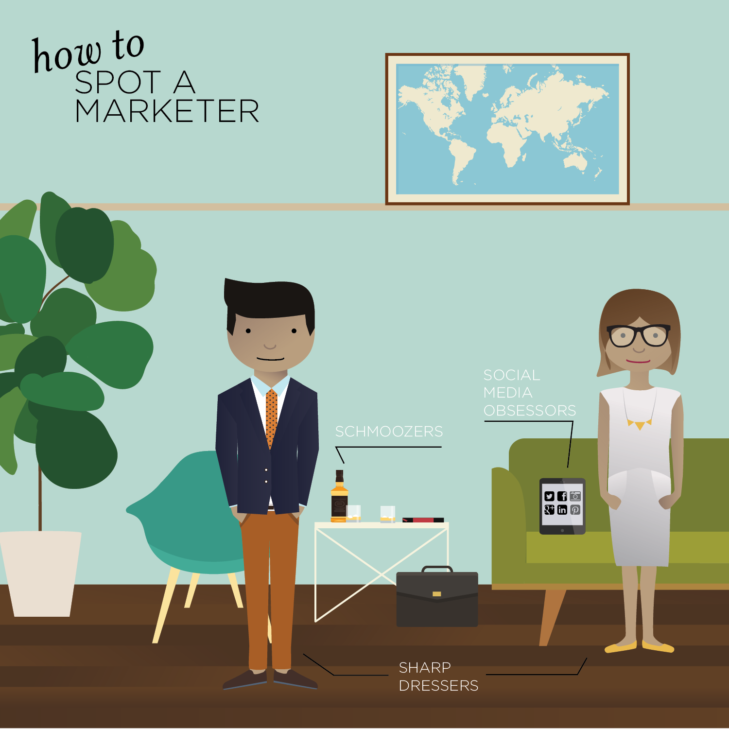 illustration of two marketers