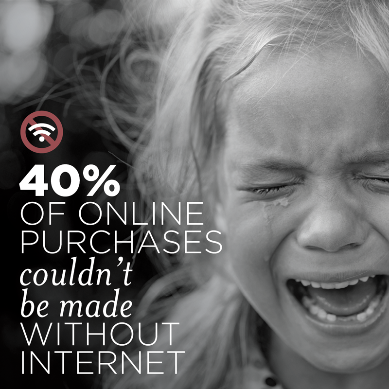 40% of consumers' online purchases could not be made without the internet